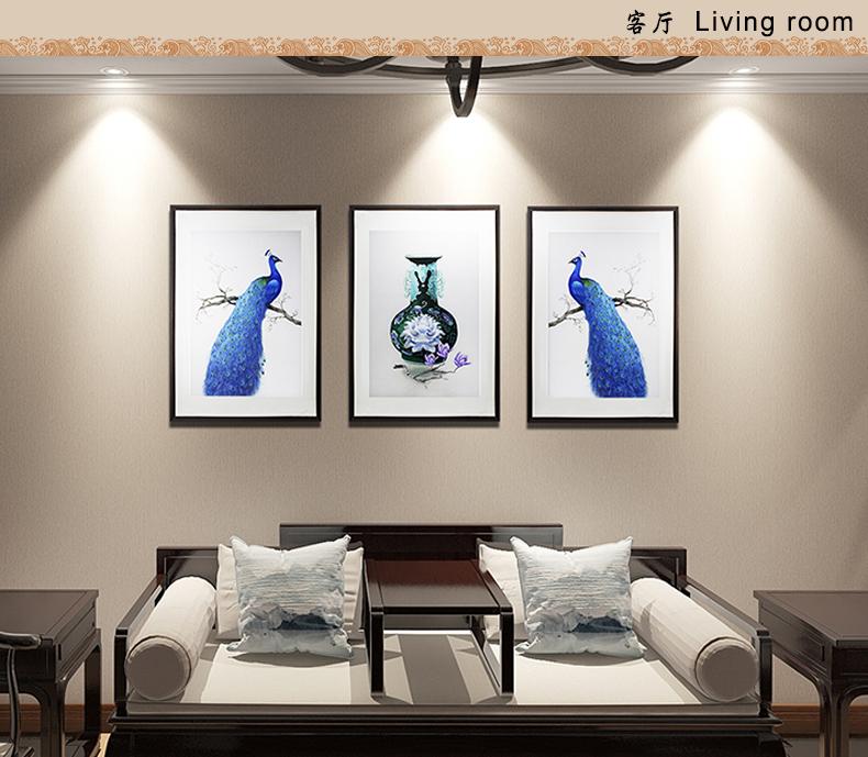客厅装饰画 孔雀三联屏