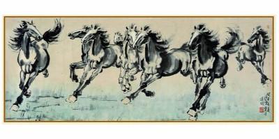 《八骏图》,徐悲鸿的代表作之一,为什么画八匹,不画六匹四匹