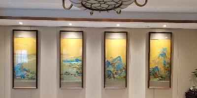 手工刺绣《千里江山》客厅玄关挂画,品味与质感并重