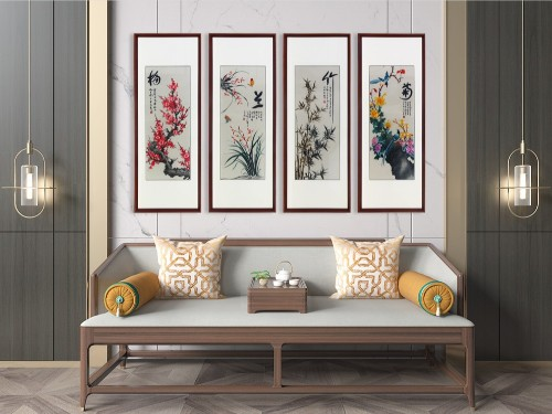 适合客厅的刺绣装饰画梅兰竹菊四条屏