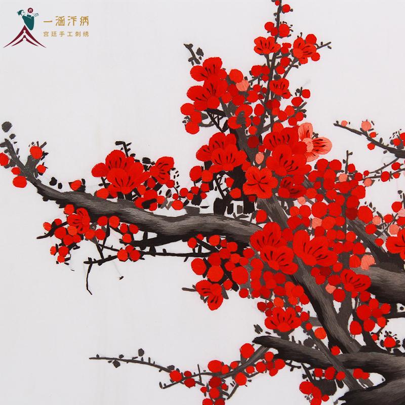 刺绣梅花细节图