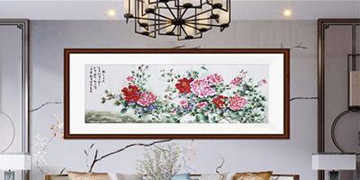 客厅书房装饰画,手工刺绣《国色天香》,让你的家居芳香满园