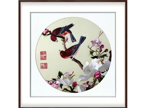 卧室装饰画 刺绣朱雀花鸟图