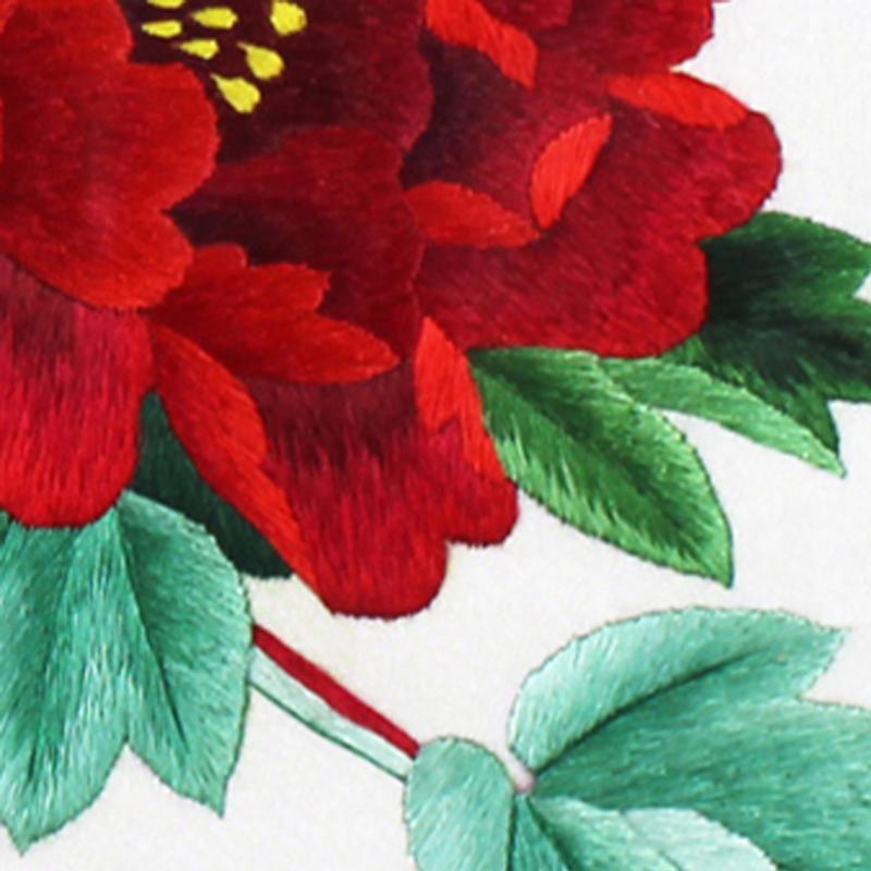 手工刺绣牡丹细节展示