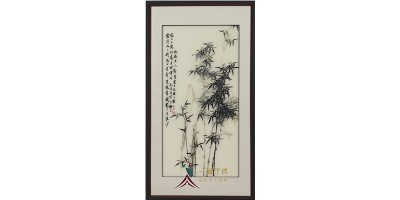 玄关挂画:汴绣竹子 竹报平安