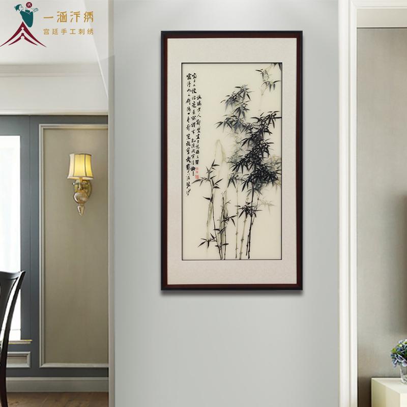 玄关挂画:刺绣竹子图