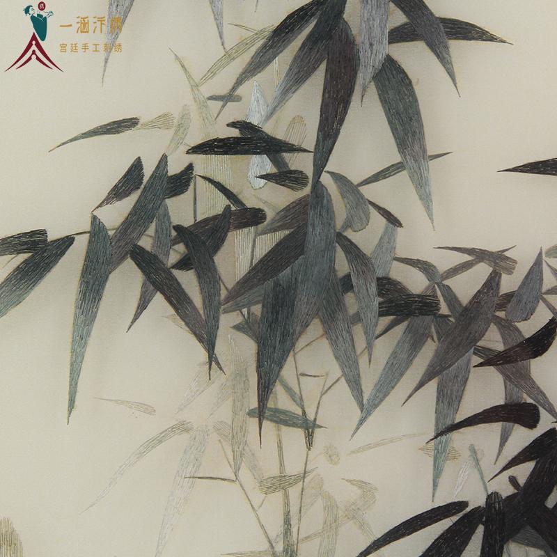 手工刺绣竹子细节