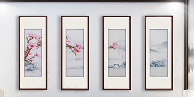 手工刺绣《玉兰雅韵》四联屏沙发背景墙