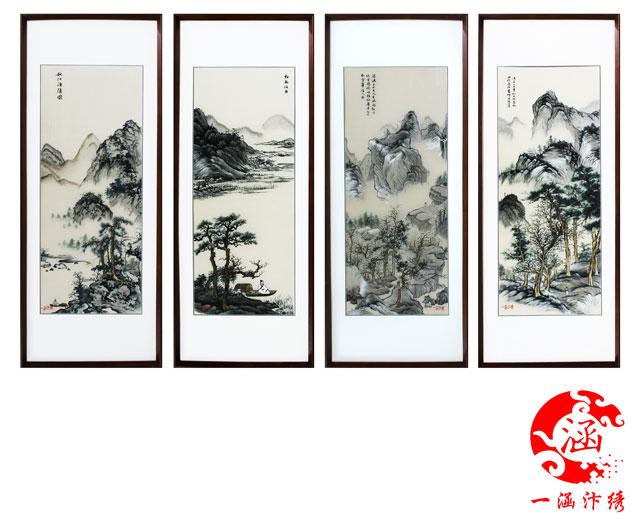 唐寅--山水画---四条屏-(2)
