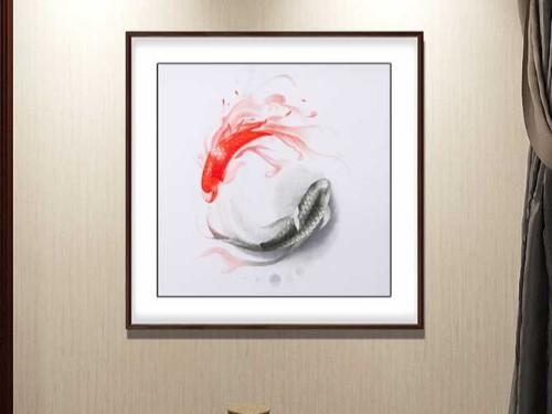 餐厅装饰画 刺绣太极鱼