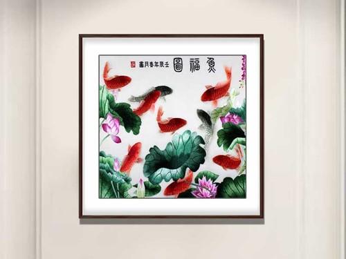 餐厅装饰画 刺绣鱼福图