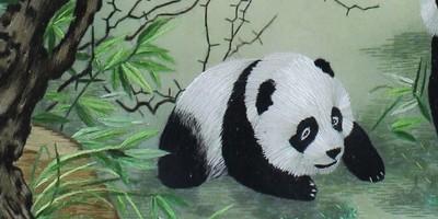 玄关刺绣画熊猫竹子,让国宝进家门