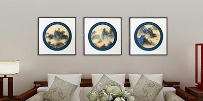 客厅风景山水画,高雅有情调的《山水三联屏》