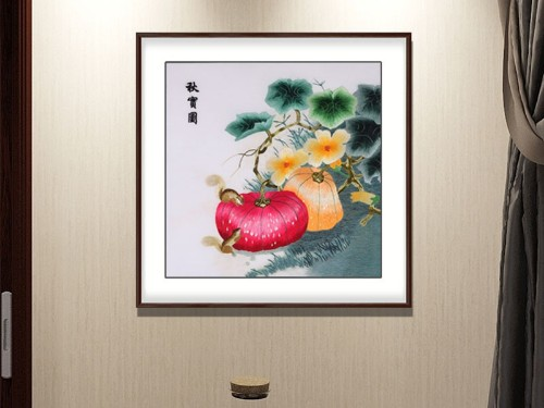 餐厅装饰画 刺绣秋实图