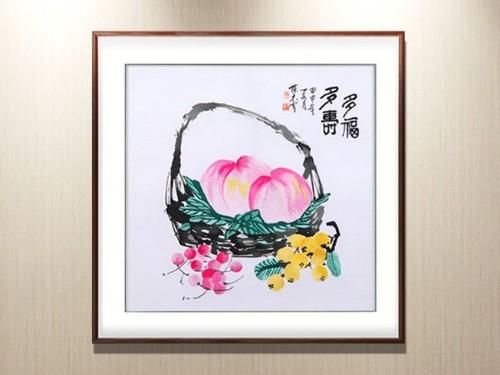 餐厅装饰画 刺绣多福多寿