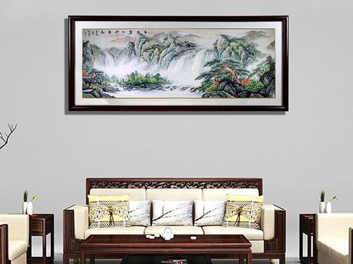 办公室装饰画 刺绣国画山水图