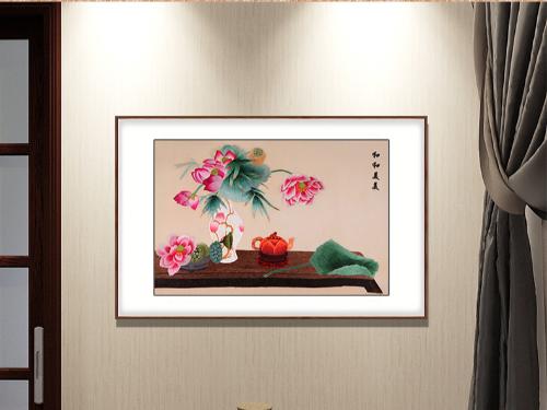 卧室装饰画 刺绣和和美美