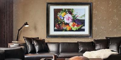 欧式客厅装饰画 刺绣油画一见倾心