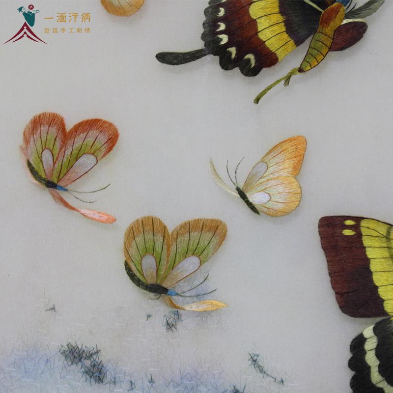 汴绣蝶恋花三联屏 手工刺绣细节展示