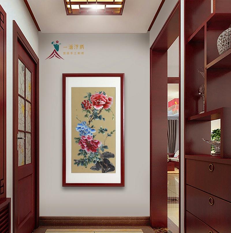 玄关挂画:刺绣牡丹图