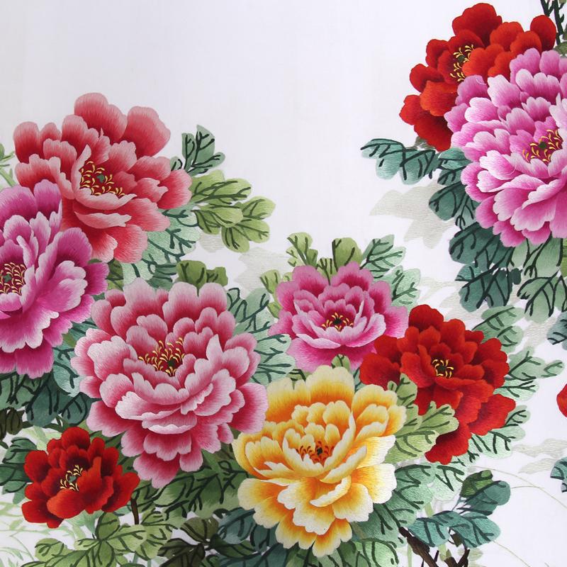 手工刺绣花开富贵细节图