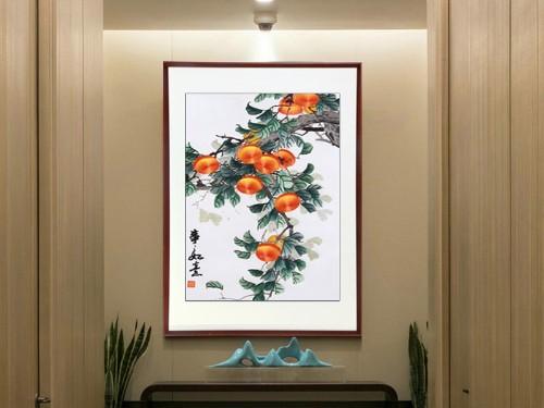 新中式玄关刺绣装饰画事事如意