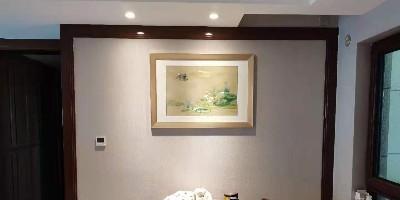 手工刺绣《莲》餐厅装饰画,宁静致远,淡雅别致。