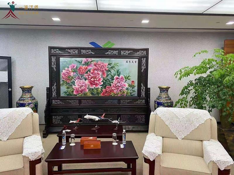 会客厅屏风 中式刺绣屏风牡丹图