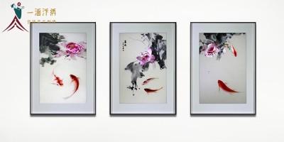 客厅装饰画三联画:手工刺绣连年有余