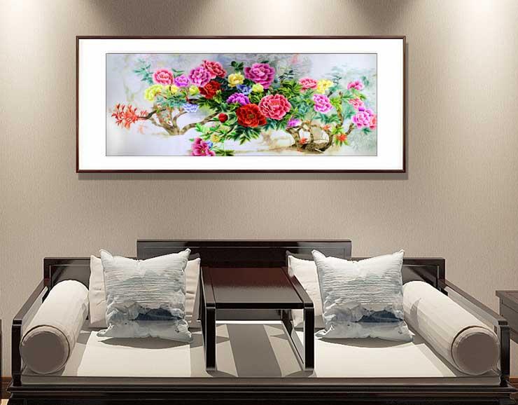 刺绣幻影牡丹图 客厅装饰画