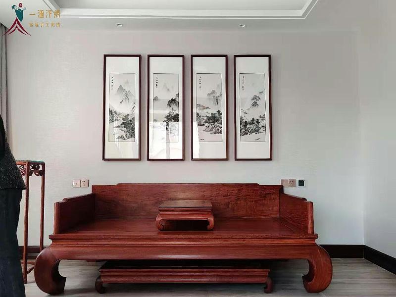刺绣客厅山水四条屏