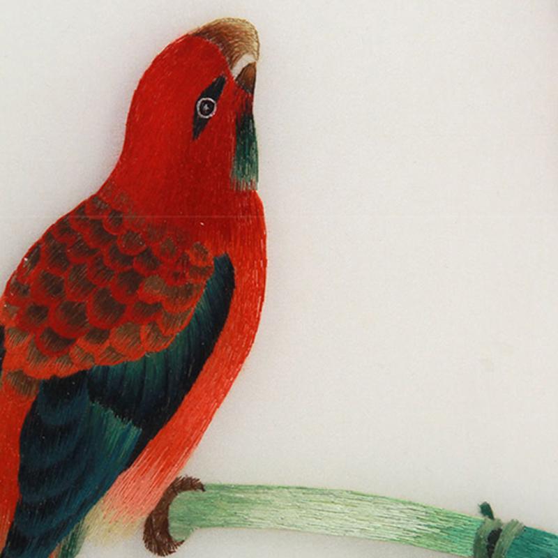 进门玄关装饰画 刺绣花鸟图细节