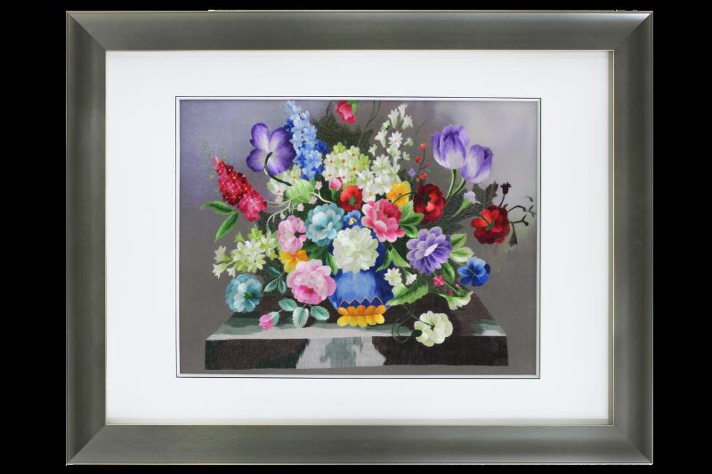 欧式沙发背景墙装饰画 刺绣油画花卉