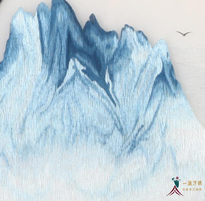 手工刺绣山水画细节