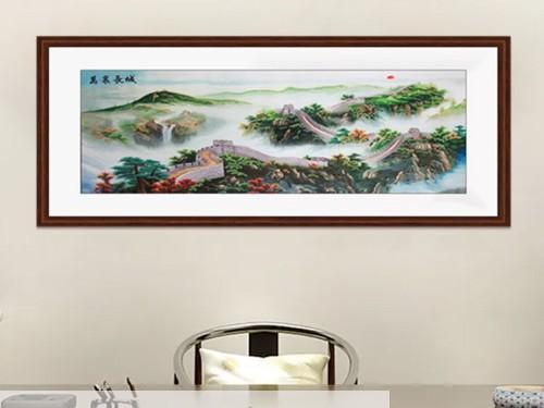 办公室装饰画 刺绣画万里长城