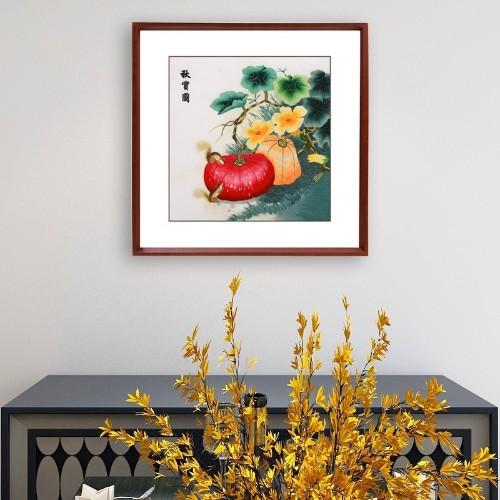餐厅装饰画,手工刺绣《秋实图》