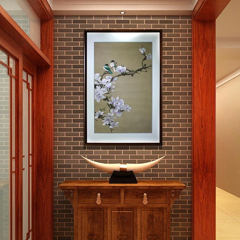 别墅玄关装饰画 刺绣玉兰图