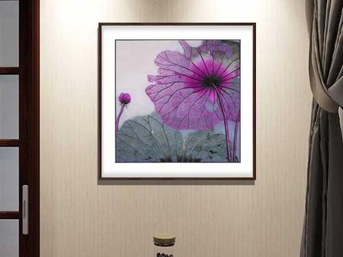 餐厅装饰画 刺绣紫色荷叶