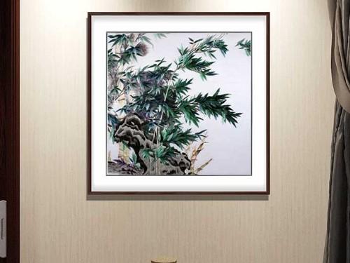 餐厅装饰画 刺绣竹报平安