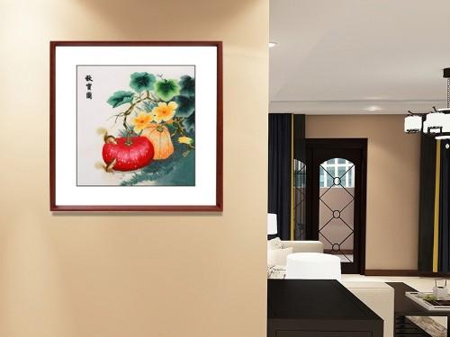 卧室装饰画 刺绣秋实图