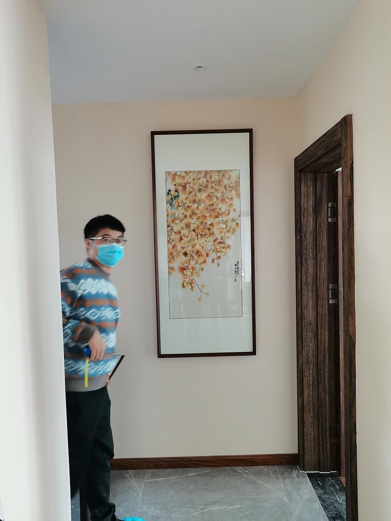 别墅楼梯装饰画 刺绣秋意