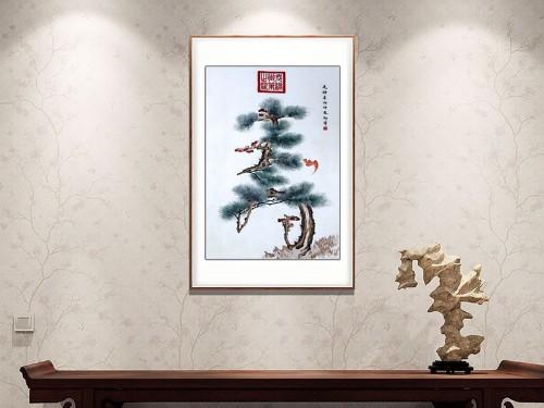 玄关装饰画 刺绣松寿图
