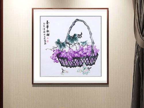 餐厅装饰画 刺绣春华秋甜