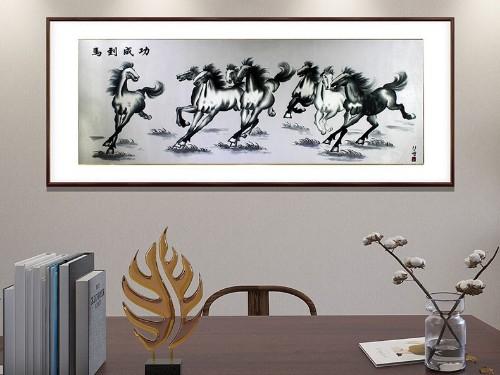 办公室装饰画 刺绣马到成功图