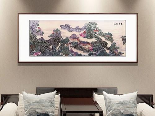 客厅装饰画 刺绣蓬莱仙境图