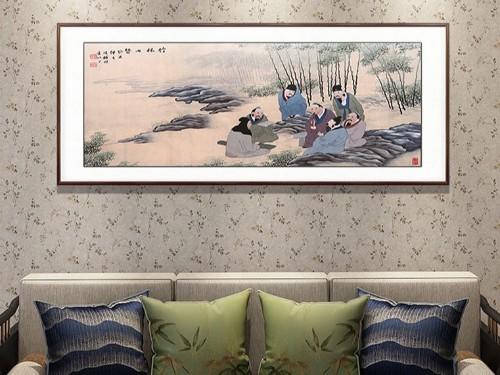 客厅装饰画 刺绣七贤图