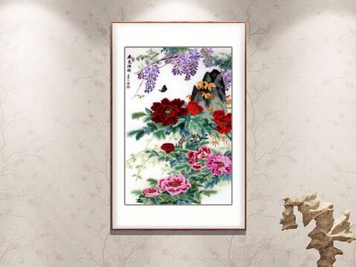 玄关装饰画 刺绣春色满园