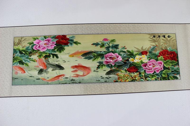 年年有余 30 100 cm 1580 九鱼 牡丹 竹子 国画工笔画 (4)