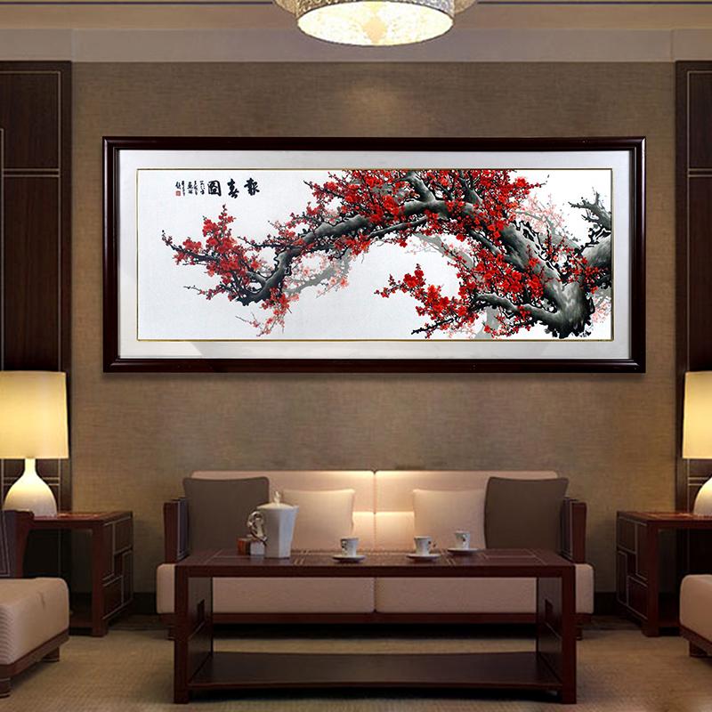 刺绣梅花装饰画