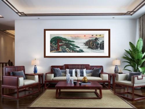 手工刺绣新中式客厅装饰画《迎客松》